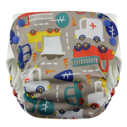 Blueberry Side Snap Simplex 2.0 All In One Diaper - Traffic