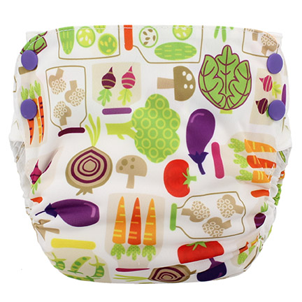 Blueberry Side Snap Simplex 2.0 All In One Diaper - Veggies
