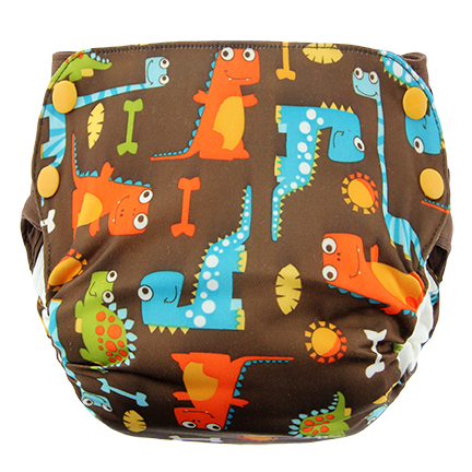 Blueberry Side Snap Simplex 2.0 All In One Diaper -  Dino Party