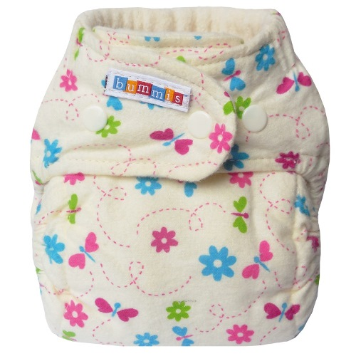 bummis one size flannel fitted diaper - Butterflies