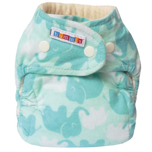 bummis one size flannel fitted diaper - Elephants