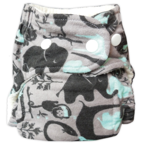 bummis one size flannel fitted diaper - Jungle