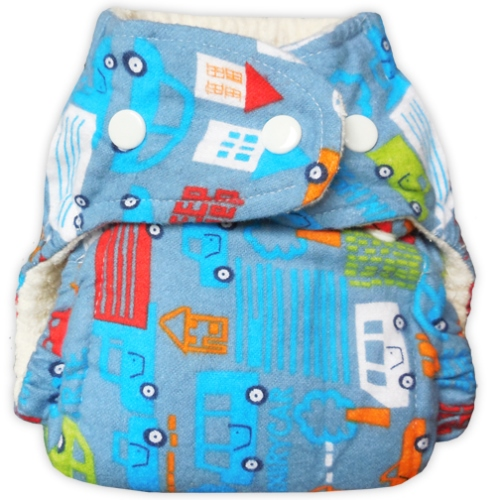 bummis one size flannel fitted diaper - Trucks