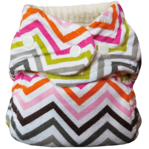 bummis one size flannel fitted diaper - Chevrons