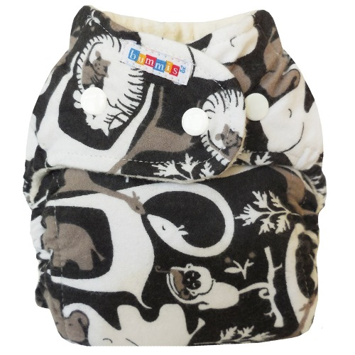 bummis one size flannel fitted diaper - Black & White Jungle