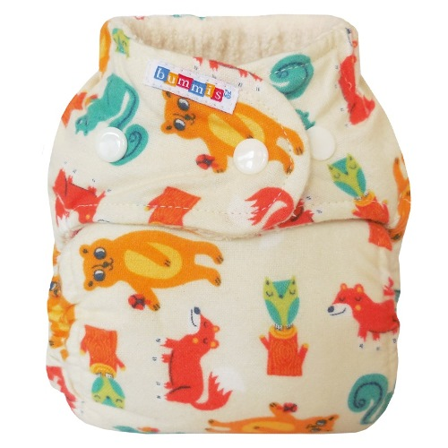 bummis one size flannel fitted diaper - Forest Creatures