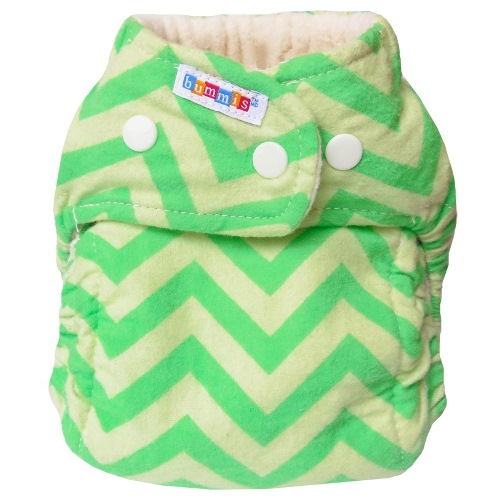 bummis one size flannel fitted diaper - Green Chevrons