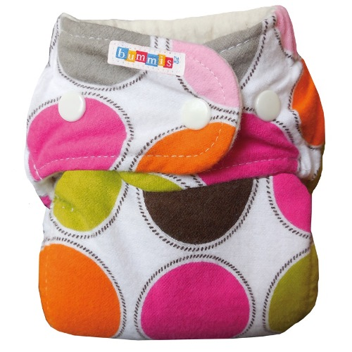 bummis one size flannel fitted diaper - multiplecolored dots