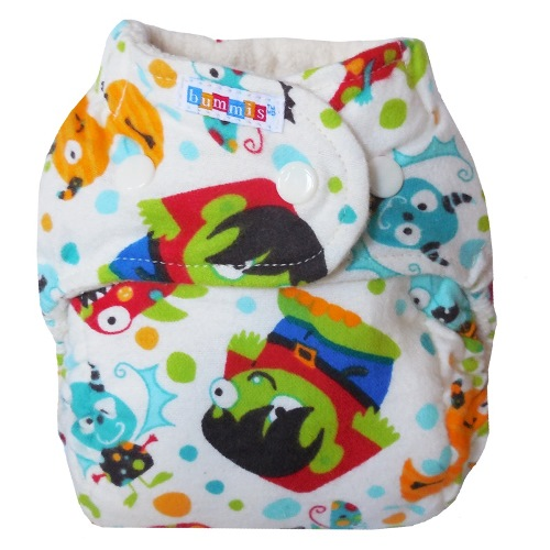 bummis one size flannel fitted diaper - monsters