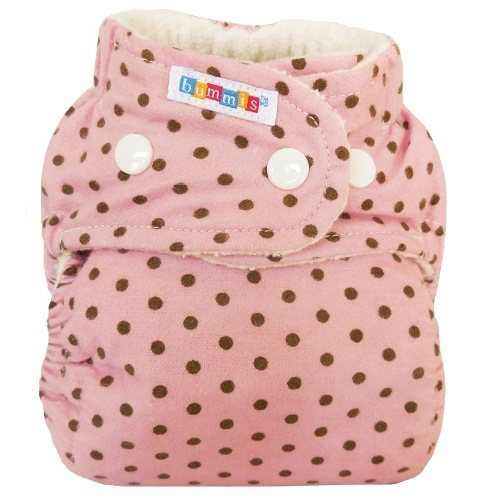 bummis one size flannel fitted diaper - Pink Dots