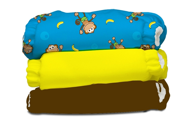 charlie banana one size cloth diaper value pack -  monkey doo