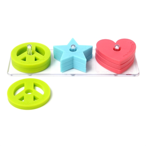 chewbeads - baby stack and play toy - peace, star, and heart