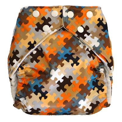 fuzzibunz one size elite cloth diaper - puzzle