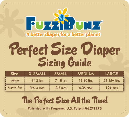 fuzzibunz perfect size cloth diaper size chart