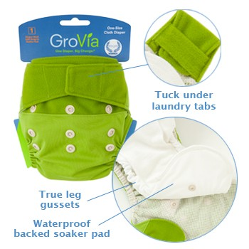 GroVia One Size Cloth Diaper Shell Set Details