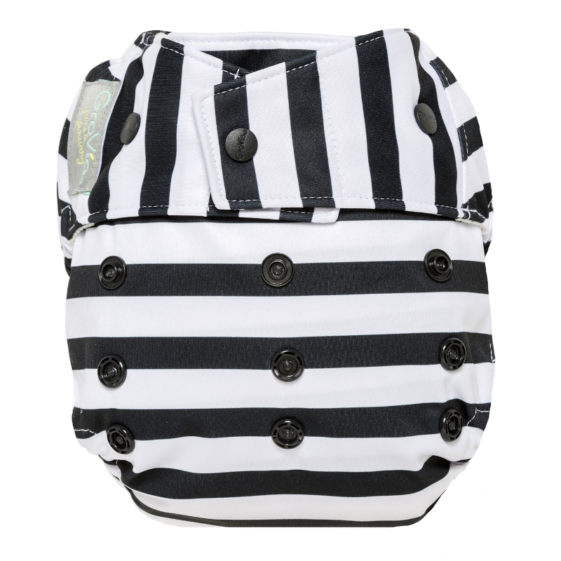 grovia one size diaper shell snap - onyx stripe