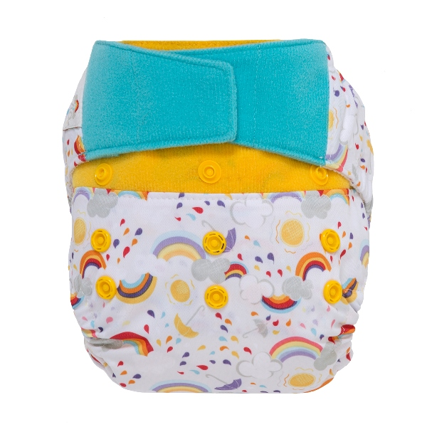 GroVia One Size Cloth Diaper Shell hook and loop - rainbow baby