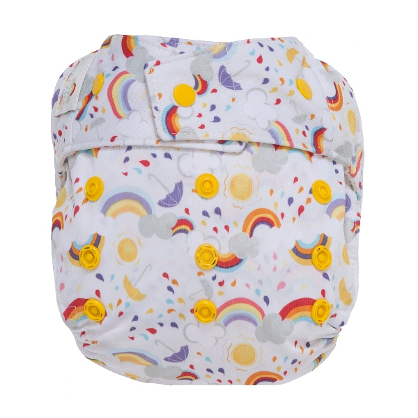 GroVia One Size Cloth Diaper Shell snap - rainbow baby
