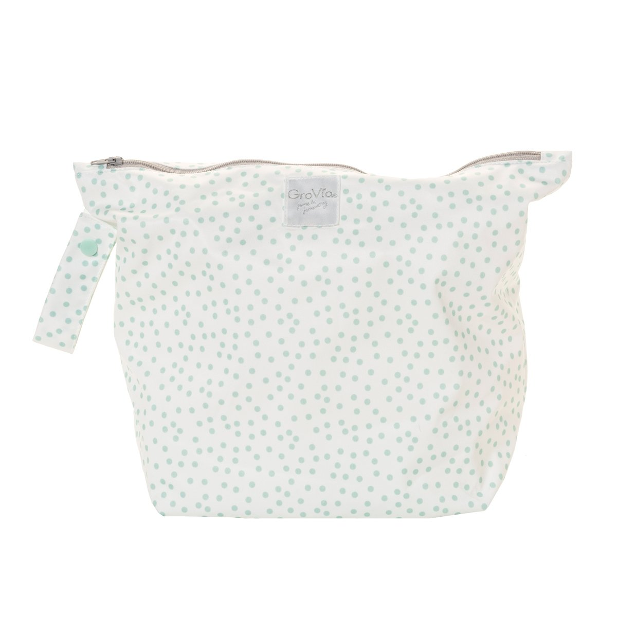 GroVia zipped wet bag - Soft Mint Dot