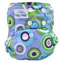 happy heinys one for all one size cloth diaper - groovy circles blue