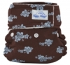happy heinys mini one size cloth diaper - blue hibiscus
