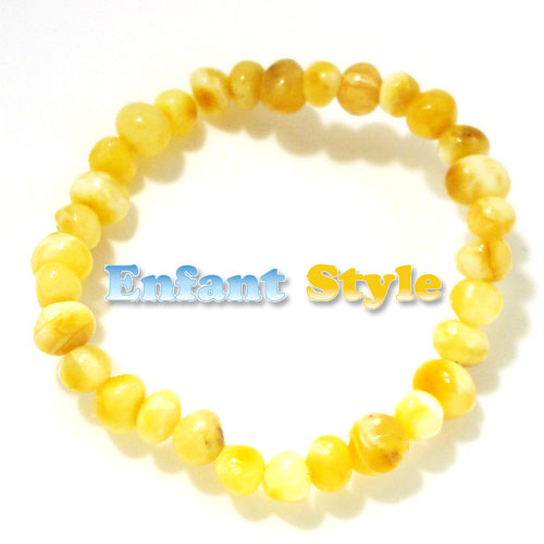 healing amber bracelet or anklet stretch - cream