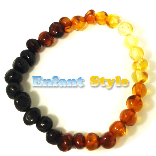 healing amber bracelet or anklet stretch - rainbow