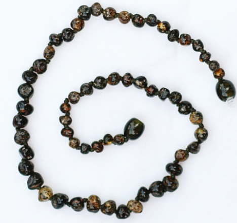 healing amber necklace - malasses olive speckle