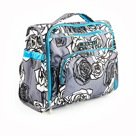 jujube diaper bag bff - charcoal roses