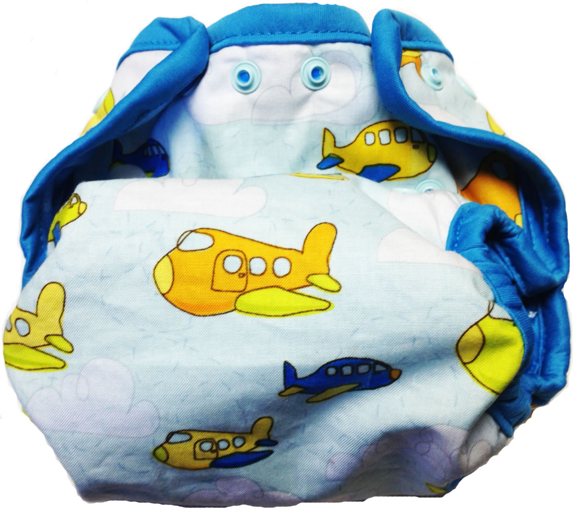 Kissaluvs Kutie One Size Diaper Cover - aireplanes