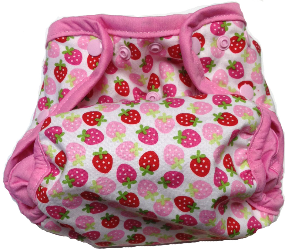 Kissaluvs Kutie One Size Diaper Cover - strawberry