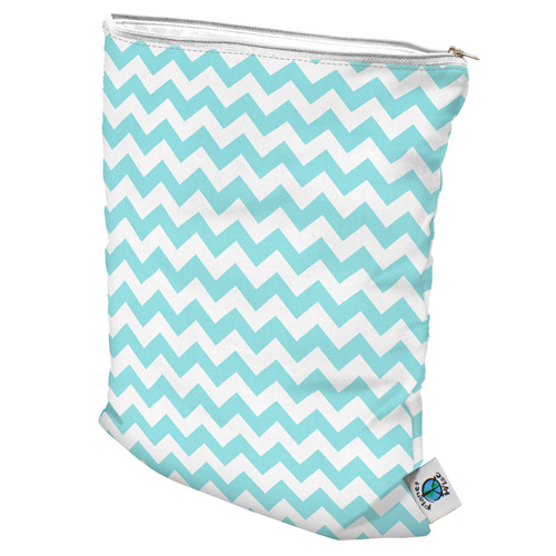 planet wise wet bag - Teal Chevron