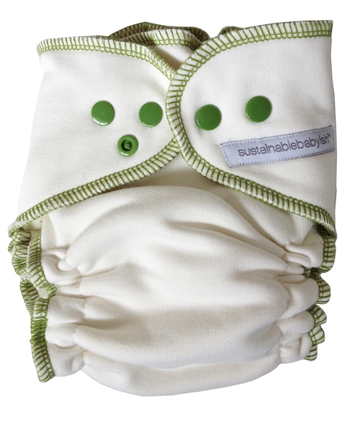 Sloomb Overnight Bamboo Fleece Fitted Cloth Diaper- Sprout
