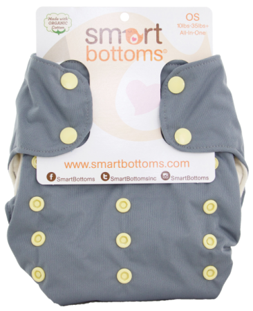 smart bottoms 3.1 organic one size all in one cloth diaper -  Finch