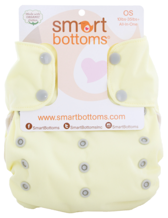 smart bottoms 3.1 organic one size all in one cloth diaper -   Lemon Ice