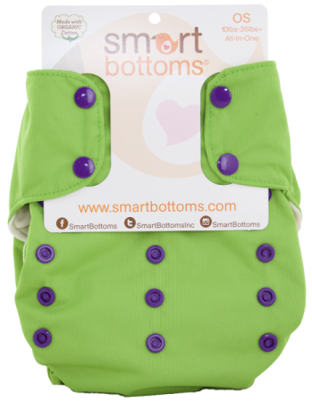 smart bottoms 3.1 organic one size all in one cloth diaper - Limelight