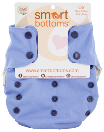 smart bottoms 3.1 organic one size all in one cloth diaper -  Storm Cloud