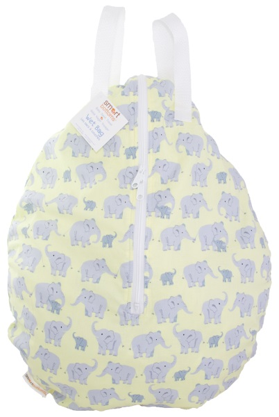 smart bottoms hanging wet bag - Wild Elephants