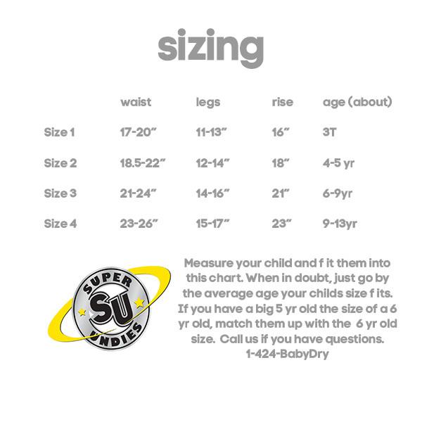 super undies cotton nighttime trainer - size chart