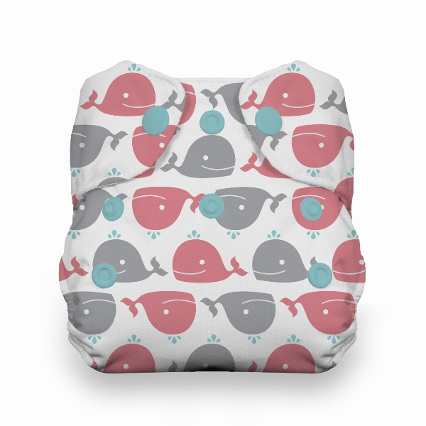 Thirsties One Size All in One Cloth Diaper - Snap -  Whales