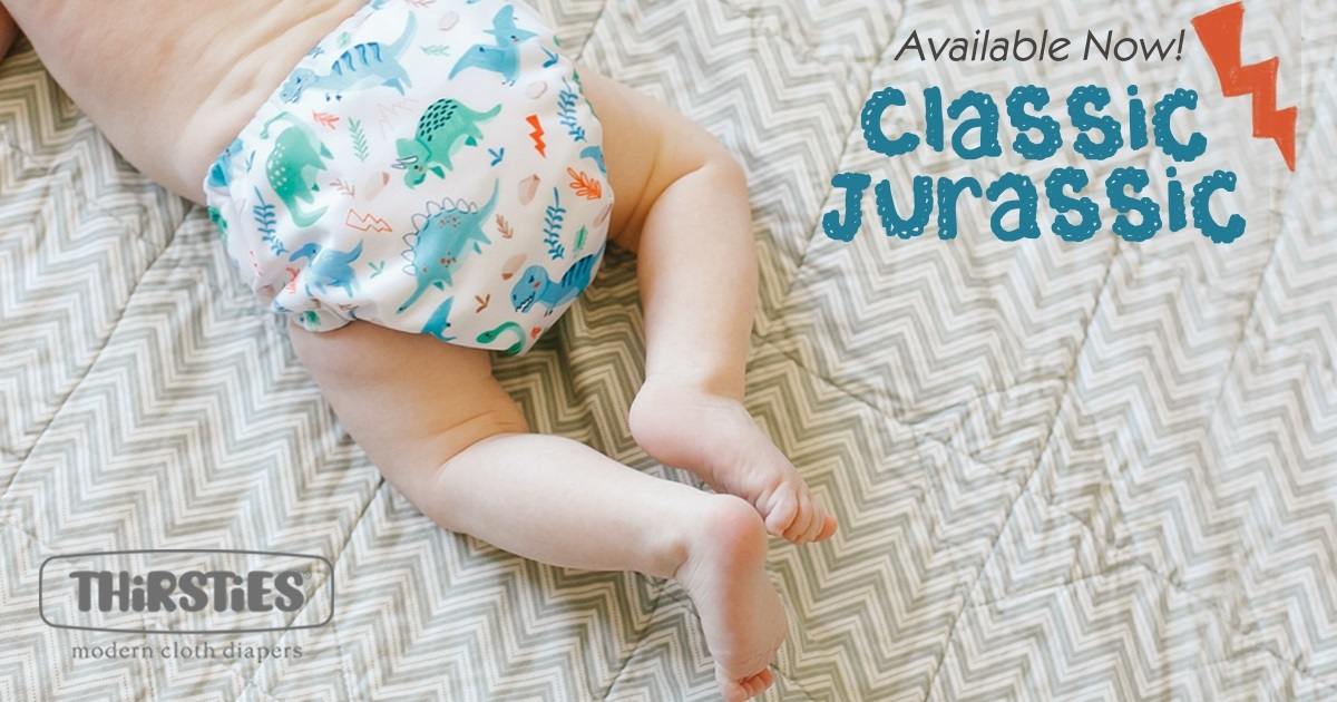 thirsties cloth diapers - classic jurassic and unicorn selfie collection