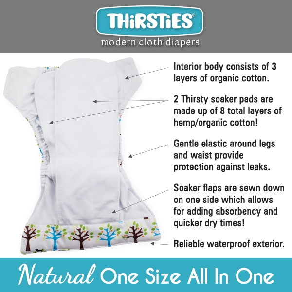 Thirsties One Size All in One Cloth Diaper details