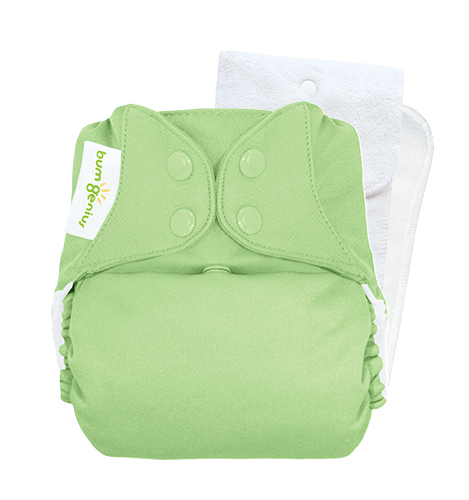 bumGenius 5.0 one size cloth diapers with snaps - Grasshopper
