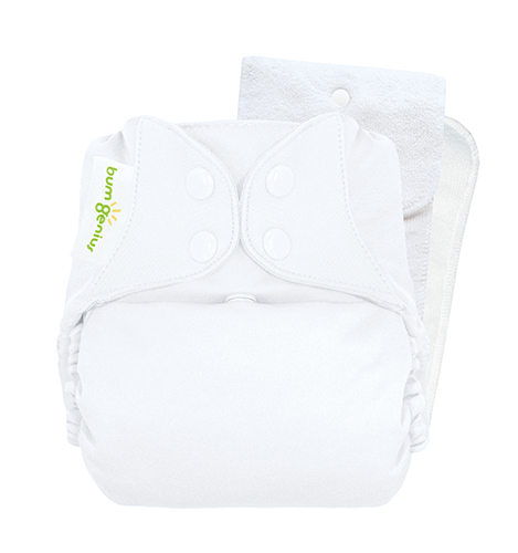 bumGenius 5.0 one size cloth diapers with snaps - White