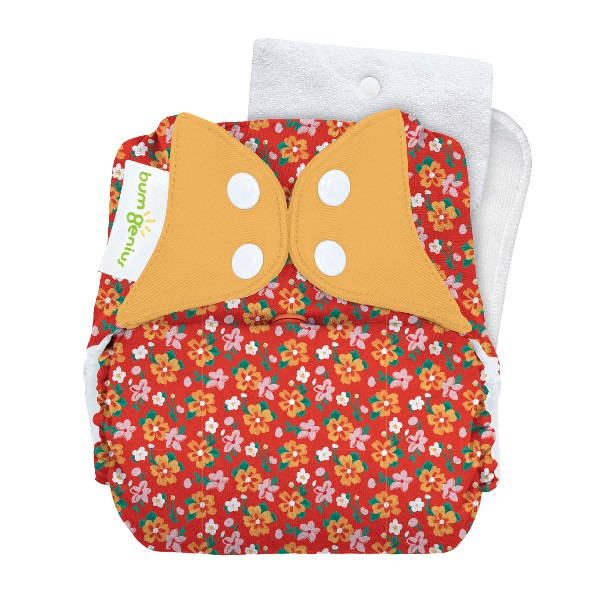bumGenius 5.0 one size cloth diapers with snaps -  Prairie Flowers