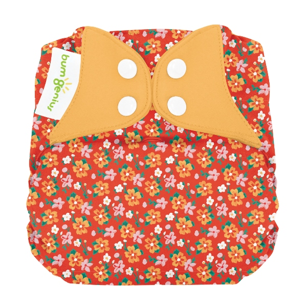 bumGenius elemental one size cloth diapers with snaps -  Prairie Flowers