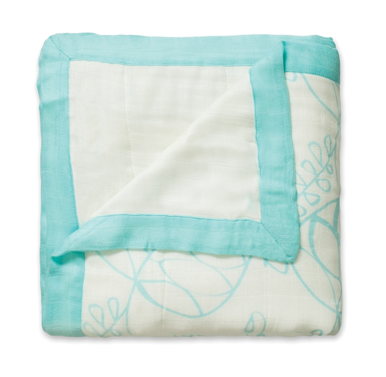 aden and anais organic dream blanket - azure leafy