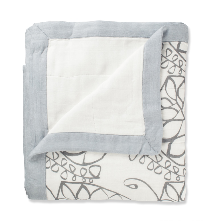 aden and anais organic dream blanket - moonlight leafy