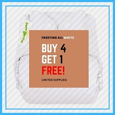 BUY 4 GET 1 FREE - bumGenius Freetime Diaper - ALL WHITE