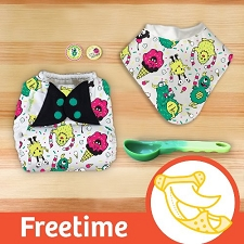 MONTH #10 - EYEscream bumGenius Freetime Cloth Diaper Set